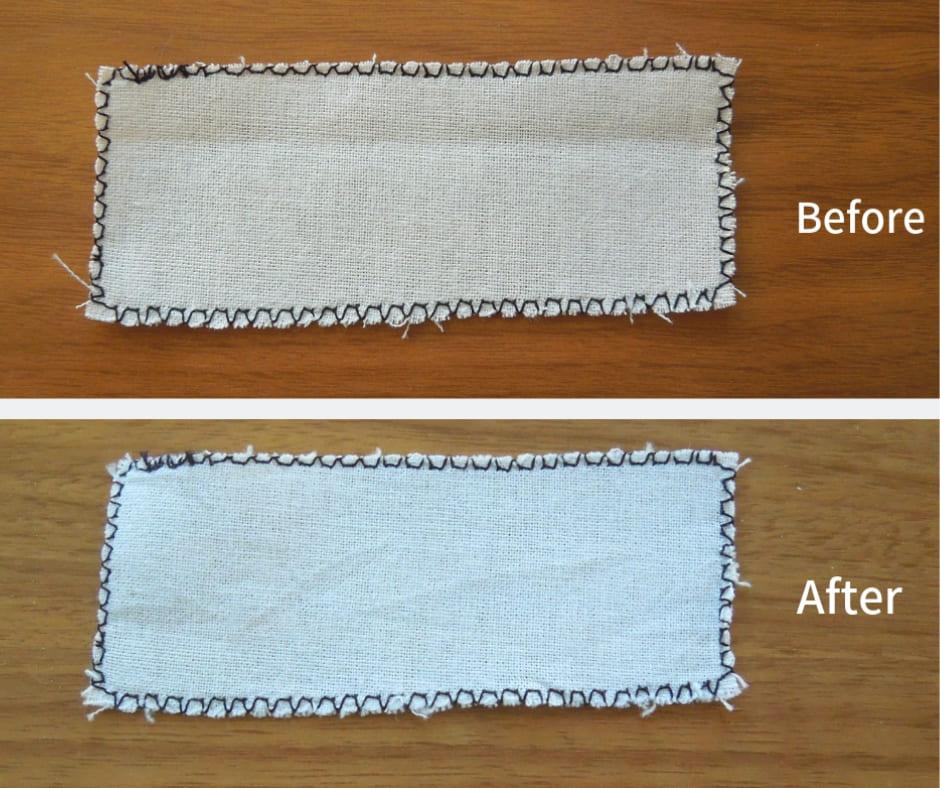 裁ち目かがり縫い洗濯後比較画像