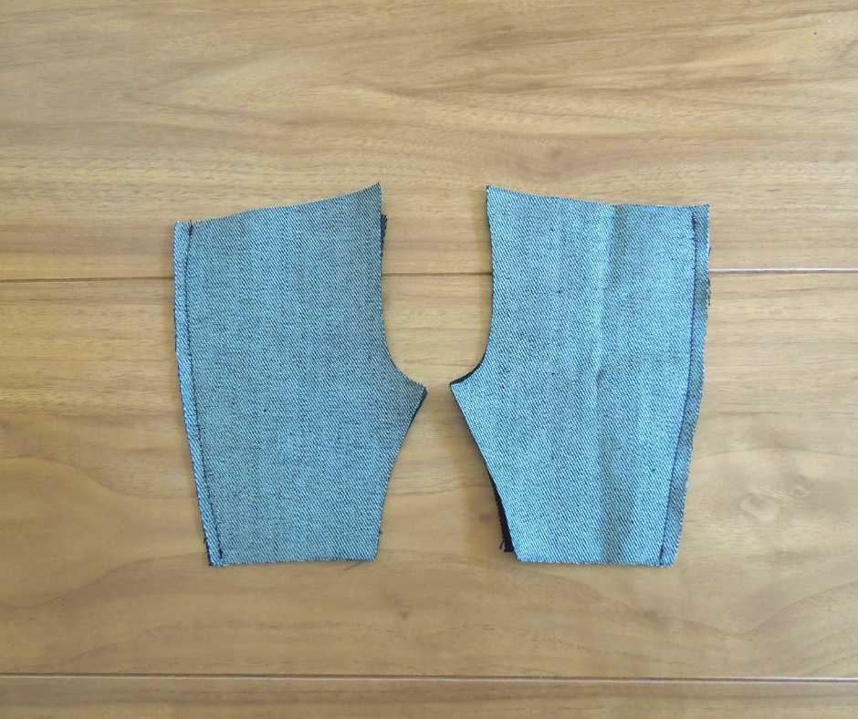 前パンツと後ろパンツを縫い合わせる
