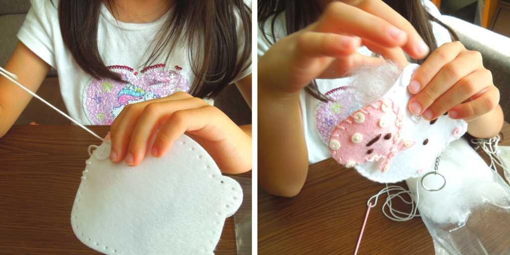 綿を詰めて輪郭を縫う