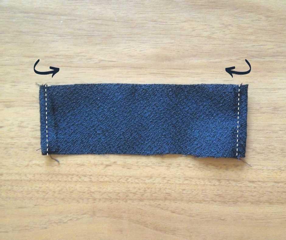 イーマリーサイズのリボンのヘアアクセ ヘアバンドの端を縫う